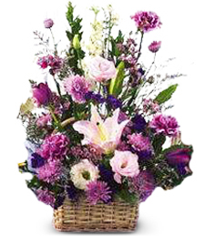 Pink and Lavender Flower Basket