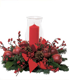 Festive Christmas Holiday Centerpiece w/ Candle