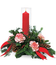 Red Pillar Christmas Candle Under Glass