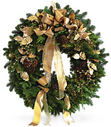 Golden Evergreen Wreath