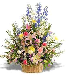 Large Pastel Flower Basket