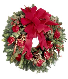 Crimson & Evergreen Wreath