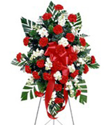Red and Ivory Funeral Standing Spray