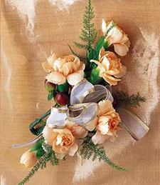 Peach Roses Boutonniere