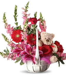 Pink and Red Basket of Love