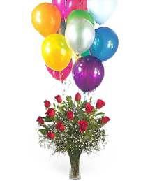 Roses & Balloons Arrangement