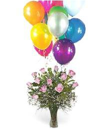 1-Dz Pink Roses & Balloons