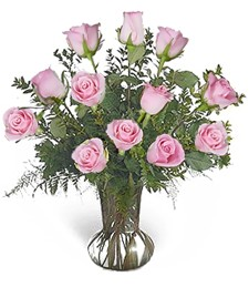 One-Dozen Pink Prom/Wedding Roses
