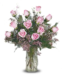 One-Dozen Pink 'Just Because' Roses