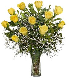 One-Dozen Yellow Thank You Roses