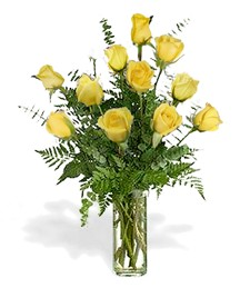 One-Dozen Yellow Birthday Roses