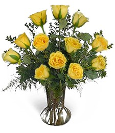 One-Dozen Yellow Valentine's Roses