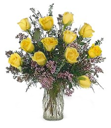 One-Dozen Yellow 'Just Because' Roses