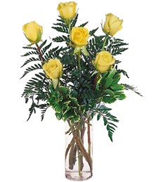 Half-Dozen Yellow Birthday Roses