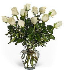One-Dozen White Love Roses