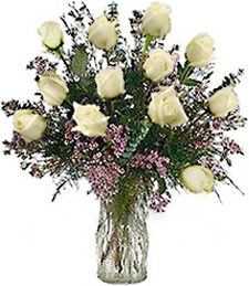One-Dozen White Prom/Wedding  Roses