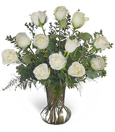 One-Dozen White Roses