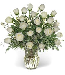 Two-Dozen White Funeral Roses