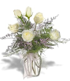 Half Dozen White Roses For Funeral