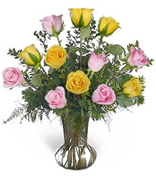 One-Dozen Yellow & Pink Birthday Roses