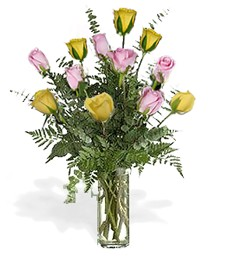 One-Dozen Yellow & Pink 'Just Because' Roses