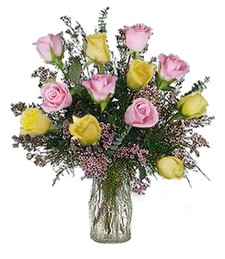 One-Dozen Pink & Yellow Birthday Roses