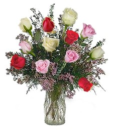One-Dozen Assorted Prom & Wedding Roses