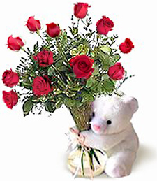 Birthday Bear with Roses