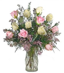 One-Dozen White & Pink Prom-Wedding Roses