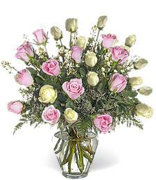 Two-Dozen White & Pink Prom-Wedding Roses