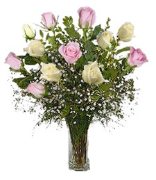 One-Dozen White & Pink 'Just Because' Roses