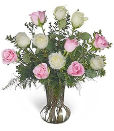 One-Dozen White & Pink Roses