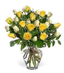 2-Dozen White & Yellow Birthday Roses