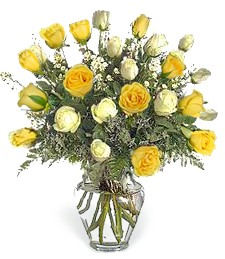 2-Dz  White & Yellow Birthday Roses