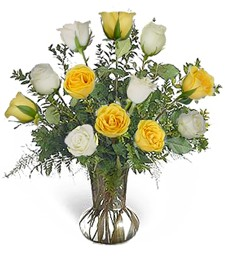 1-Dz. White & Yellow Birthday Roses