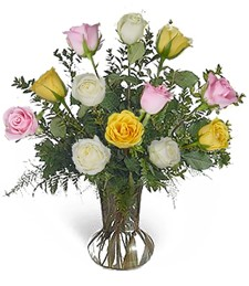 1-Dz Assorted Birthday Roses