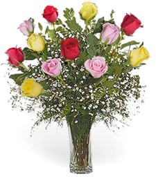 1-Dozen Assorted Thank You Roses