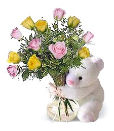 Bear w/ Pink & Yellow Birthday Roses
