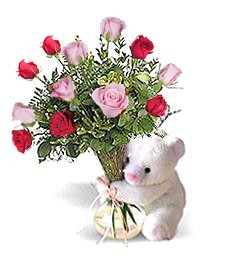 Bear w/ Pink & Red Thinking of You Roses