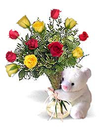 Bear w/ Yellow & Red Roses
