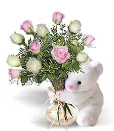 Bear w/ Pink & White Birthday Roses