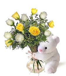 Bear w/ Yellow & White Roses