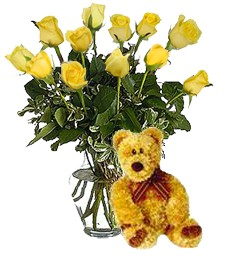 Bear w/ 1-Dz Yellow Get Well Roses