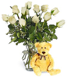 Bear w/ 1-Dz White Birthday Roses