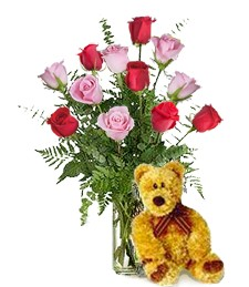 Bear w/ 1-Dz Red & Pink Roses