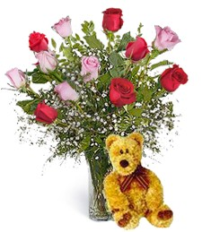 Bear w/ Red & Pink Birthday Roses
