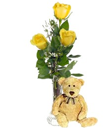 3 Yellow Birthday Roses & Bear