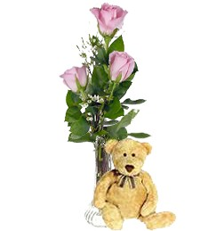 3 Pink Birthday Roses & Bear