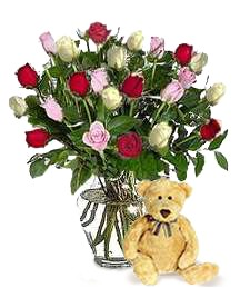 Bear w/ 2-Dz Assorted Roses