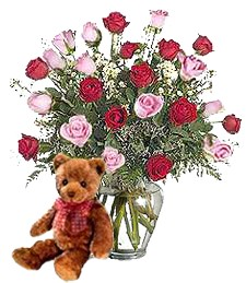 Bear w/ 2-Dz Pink & Red Birthday Roses